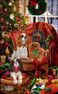 "Cavalier King Charles Christmas cards are 8 1/2"" x 5 1/2"" and come in packages of 12 cards. One design per package. All designs include envelopes, your personal message, and choice of greeting. Select the greeting of your choice from the drop-down menu above.Add your personal message to the Comments box during checkout."