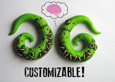 Zombie Earrings For Stretched Lobes  Fake 4g 2g by PrettyInPolymer