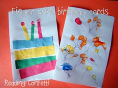 Birthday cards made by toddlers rainbow cake wconstruction paper reading confetti fingerprint birthday cards i used the whole finger print to make the candles and the tips for the flame bookmarktalkfo Images
