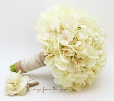 Wedding Bouquet Cream Silk Hydrangea Burlap by SongsFromTheGarden, $90.00