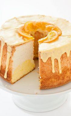 Daffodil Cake: Like the flower it's named for, this orange-kissed angel food cake is scented and sweet, with golden yellow and pale orange hues. Angle Food Cake Recipes, Pound Cake Recipes, Dessert Recipes, Pound Cakes, Mini Desserts, Just Desserts, Delicious Desserts, Cupcakes, Cupcake Cakes