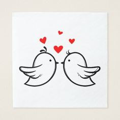 Shop Red And Black Thank You Lovebirds Wedding Party Napkins created by merrybrides. I Love You Drawings, Art Drawings For Kids, Colorful Drawings, Diy Embroidery, Embroidery Designs, Dandelion Drawing, Small Canvas Paintings, Wall Painting Decor, Love Birds Wedding