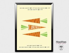 Carrot poster vegetables poster veggie poster by HooHooCreations