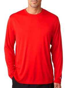 Style Code: (CH-CW26) CW26 Champion Adult Double Dry Long-Sleeve Interlock T-Shirt With interlock construction and moisture-wicking, this shirt is built for dry comfort…no matter how hot it gets. 100% polyester jersey 4.1-oz. moisture-wicking cover-seamed armholes and neck self-fabric collar double-needle hemmed sleeves and bottom left-cuff reflective C logo back-neck Champion logo Sizes: S-3XL