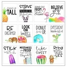 Classroom Posters - Inspirational Quotes (Watercolor) quotes for students motivation motivational posters Classroom Posters, Classroom Themes, Classroom Organization, Teacher Posters, Student Gifts, Teacher Gifts, Printable Planner, Planner Stickers, Printables