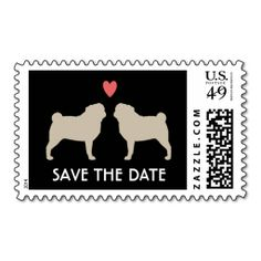 Pugs Wedding Save the Date Postage. This is a fully customizable business card and available on several paper types for your needs. You can upload your own image or use the image as is. Just click this template to get started!