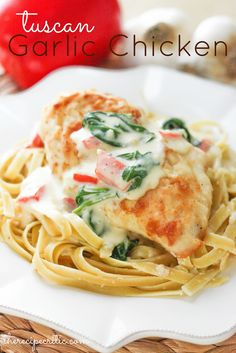 Tuscan Garlic Chicken. Start pouring the white wine kids:) Spinach, cream sauce, garlic...I am there!