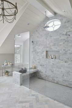 Master bathroom shower design featuring Carrara Marble, cathedral ceiling and custom oval window des Carrara Marble Bathroom, White Marble Bathrooms, White Master Bathroom, Master Bathroom Shower, Modern Bathroom, Bathroom Niche, Bathroom Showers, Bathroom Windows, Bathroom Fixtures