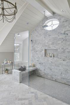 Master bathroom shower design featuring Carrara Marble, cathedral ceiling and custom oval window des White Marble Bathrooms, White Master Bathroom, Master Bathroom Shower, Modern Bathroom, Small Bathroom, Carrara Marble Bathroom, Bathroom Niche, Concrete Bathroom, Brown Bathroom