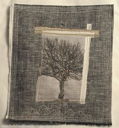 Image transfer combined with nice textile choice and stitching. By thefableofthetable.