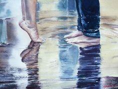 марафон, веснариум, конкурс работ, акварель, сюжет, любовь, дождь, картина акварелью, стопы, ноги, лужи, пара влюбленных, поцелуй, под дождем