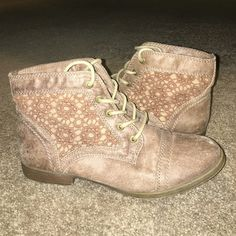 Tan booties Tan, crochet detailing on the sides, lace ups, worn once. Mossimo Supply Co Shoes Ankle Boots & Booties