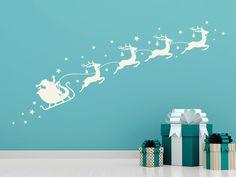 Wandtattoo Rentier-Schlitten als Dekoration zu Weihnachten für die Wand oder das Fenster. #Weihnachtsdeko