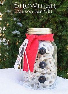 Snowman pretzel mason jar