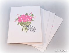 Thank You Card Set Thank You Notes Wedding by SouthernRosePaperie