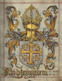Kingdom of Jerusalem Medieval Coat of Arms by Serge Averbukh Kingdom Of Jerusalem, Jerusalem Cross, Medieval, Family Shield, Illumination Art, Banner, Scroll Design, Chivalry, Knights Templar