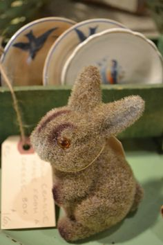 Vintage flocked bunny.  Love.