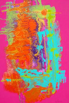 """Saatchi Online Artist: Lorraine Carey; Acrylic, Painting """"Pink Buzz"""" I like the colours and how they react with the bright pink background"""