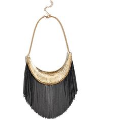 GUESS by Marciano Lara Fringe Collar Necklace (1 040 ZAR) ❤ liked on Polyvore featuring jewelry, necklaces, gold, yellow gold necklace, gold collar necklace, gold fringe necklace, special occasion jewelry and fringe necklace