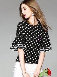 Shop for high quality Slim Dot Print Flare Sleeve Blouse online at cheap prices and discover fashion at Ezpopsy.com Blouse Styles, Blouse Designs, Ropa Upcycling, Skirt Outfits, Casual Outfits, African Blouses, Sleeves Designs For Dresses, Stylish Clothes For Women, Fashion Sewing