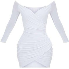 Shape White Ruched Bardot Bodycon Dress ($40) ❤ liked on Polyvore featuring dresses, shirred dress, shirring dress, gathered dress, white color dress and bodycon dress #bodycondresshomecoming