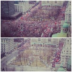 200,000 students reportedly marching peacefully downtown Montreal to protest against tuition hike in Québec, Canada. Largest mobilization ever recorded in history of this Province. #mar22