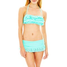 <p>Cutouts and ruffles make an adorable style statement on our bandeau swim top and skirtini bottoms.</p>