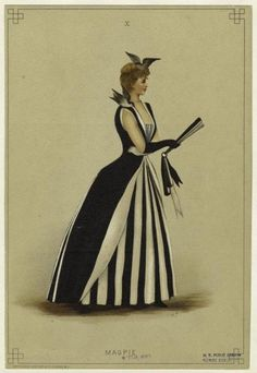 """A very fashionable """"magpie"""" costume from the 1887 edition of Fancy Dresses Described: or, What to wear at fancy balls."""