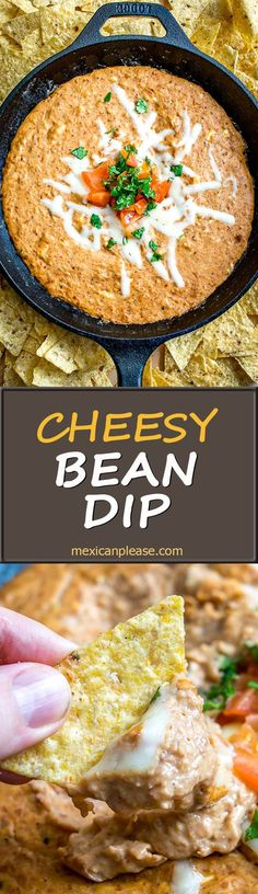 Sure, this  Cheesy Bean Dip works great for office parties and family get-togethers, but it tastes better when you make it for yourself :)  Chipotles in adobo give the pinto bean puree incredible flavor.  So good!  http://mexicanplease.com