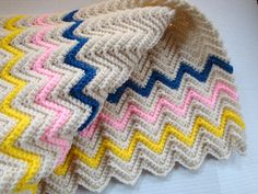 Baby Blanket Crochet Pink Blue Yellow Ripple by CherylsKnits