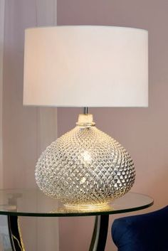 Next Large Glamour Table Lamp - Chrome Touch Table Lamps, Grey Table Lamps, Bedside Table Lamps, Table Lamp Sets, Bedroom Lamps Uk, Master Bedroom, Bedroom Table, Blue Bedroom, Lounge Lighting