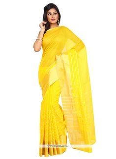 Grab the second look in this elegant attire for this season. Add grace and charm to your appearance in this beautiful yellow art silk classic saree. Look ravishing clad with this attire which is enhan...