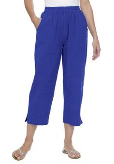 Woman Within Plus Size Pants, Capri Length In Cotton Seersucker With Comfy Elastic Waist (Blue Violet,30 W) Woman Within. $17.99