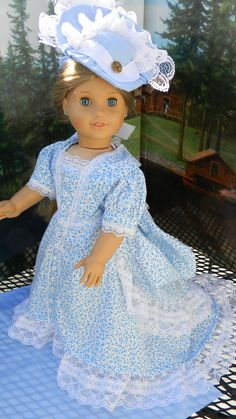 "18"" Doll Bustle Style Gown With Hat"