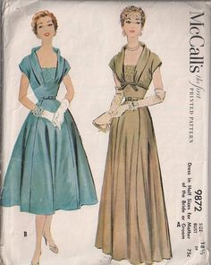 MOMSPatterns Vintage Sewing Patterns - McCall's 9872 Vintage 50's Sewing Pattern AMAZINGLY ELEGANT Lucy Rockabilly Mother of the Bride or Groom Formal Gown, Party Dress with Shawl Collar, Empire Midriff, Cap Sleeve, 2 Lengths Size 16.5