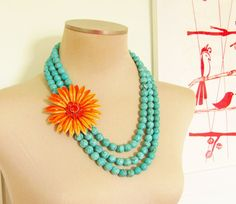 Vintage Enamel Flower Necklace Tangerine by silverliningdecor, $89.00