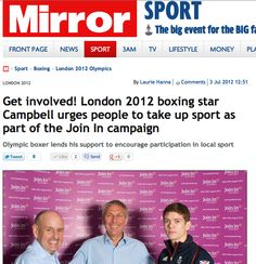 Get involved! London 2012 boxing star Campbell urges people to take up sport as part of the Join In campaign Sport Boxing, Front Page News, Olympics, Campaign, Join, London, Stars, Sterne