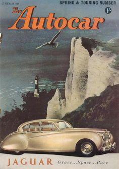 Best classic cars and more! Vintage Sports Cars, Vintage Cars, Antique Cars, Mg Cars, Cars Uk, Poster Ads, Car Posters, Jaguar Daimler, Car Brochure