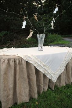 Burlap Table Cover by PaulaAndErika on Etsy, $150.00