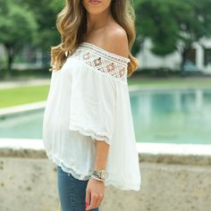 Off the shoulder with a little crochet detailing ($36!) // shop it this way - liketk.it/2ot8P