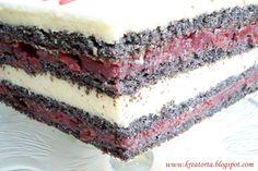 Kreatorta: Meggyes máktorta Croatian Recipes, Hungarian Recipes, Hungarian Cake, Sweet Tooth, Cheesecake, Deserts, Dessert Recipes, Yummy Food, Sweets