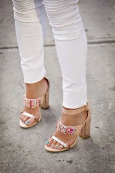 Beaded sandals and white denim for weekend brunch situations.