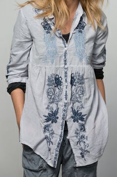 Styles at Johnny Was.   Could be made from a plain shirt - run an elastic under the bust.  Maybe do designs with marker.