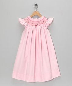 Pink Smocked Angel-Sleeve Dress - Infant, Toddler & Girls by Sew Childish on #zulily today!