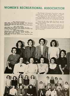 Athena yearbook, 1949. In 1944 the Women's Athletic Association (WAA) became the Women's Recreation Association (WRA). :: Ohio University Archives.