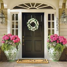 Something very simple and also very beautiful you can do for your front door entrance is to have flower pots. Display them on either side of the door or in its vicinity. If you have a covered porch then it's… Continue Reading → Front Door Planters, Front Porch Flower Pots, Door Planter, Container Garden Design, Porch, Front Door Entrance, Front Porch Flowers, House With Porch, Doors
