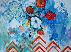 Ikat White Poppy on Sapphire and Tangerine Chevron. Annie Flynn