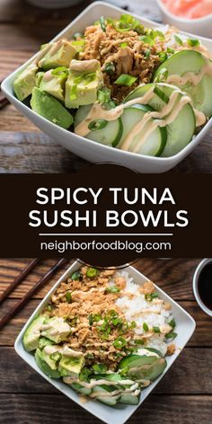 Enjoy your favorite sushi roll in bowl form! These Spicy Tuna Bowls pair a bed of sticky rice with seasoned tuna, cucumbers, pickled ginger, and spicy mayo for an easy, healthy lunch or dinner! Sushi Recipes, Seafood Recipes, Asian Recipes, Cooking Recipes, Healthy Recipes, Beef Recipes, Healthy Meal Prep, Healthy Eating, Easy Healthy Lunch Ideas