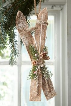 Wooden Nordic Ski Decoration - christmas trees & tree decorations ...