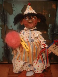 """Circus Fun Cloth Doll  by~ Audrey of """"Bay Rays Child"""" ...NOT AVAILABLE"""